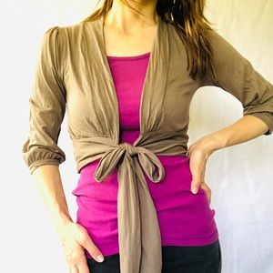 Gap tie front cropped shrug 3/4 sleeves